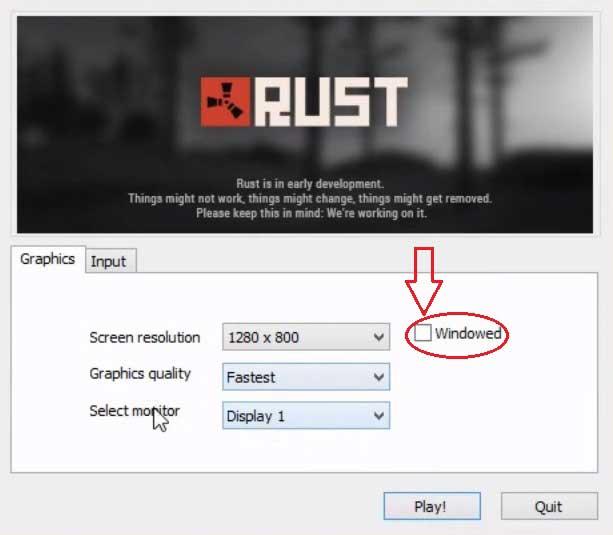 Запуск Rust в полноэкранном режиме